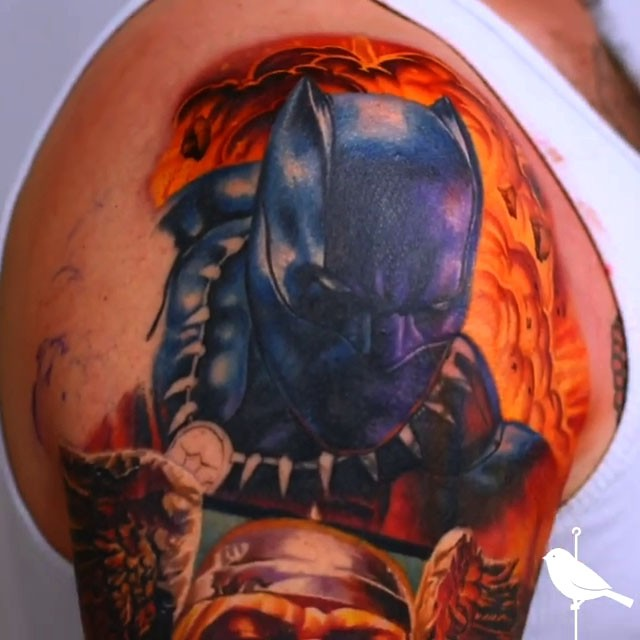 Black Panther and Avengers color tattoo